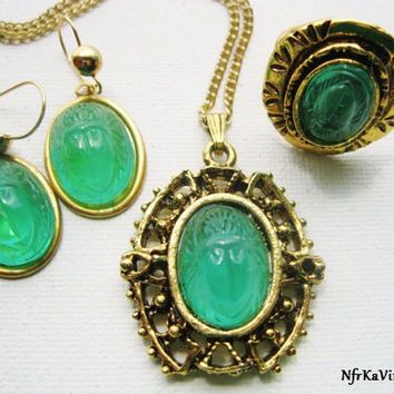 Egyptian Jewelry Set Vintage Emerald Green Glass Egyptian Scarab Jewelry Set  Scarab Necklace Scarab Earrings   Scarab Ring Vintage Jewelry