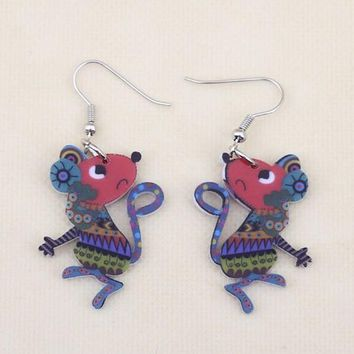 1 pair lovely cute mouse printing drop earrings acrylic new design for girls woman jewelry fashion