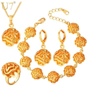 U7 Dubai Gold/Silver Color Jewelry Sets For Women Flower African Costume Jewelry Set Wedding For Brides S695