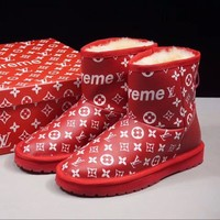 Best Online Sale Louis vuitton LV x Supreme x UGG Customise Red White Print Wool Mid Boost