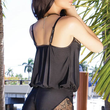 Soft Black Romper with Scalloped Eyelash Lace in OS