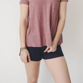 Striped Pocket Tee - Mauve