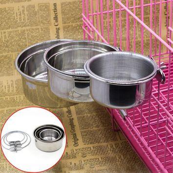 1pc High Quality Stainless Steel Food Water Bowl for Crates Cages Dog Parrot Bird Pet S M L