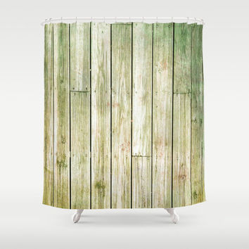 Green Fence - Shower Curtain - Rustic Decor - Farmhouse Chic - Summer - Spring Decor - Farmhouse Chic - Boho Decor - Cabin Decor - Cottage