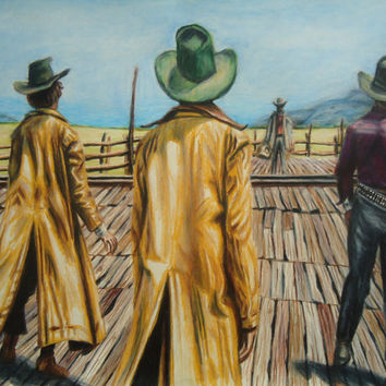 Once Upon A Time in the West - Country decor - Western decor - Pencil drawing - Colored pencil art - Western drawing - Cowboy artwork - Art