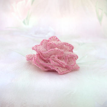 Wedding Hair Accessory, Hand-knit Flower, Bridesmaid/Flower Girl Accessory, Pink with Dark Pink Edge, Estonian Lace