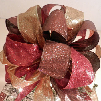 Large Gold, red and brown Glitter Christmas Tree topper bow 8 ft tails