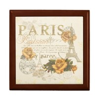 KRW Vintage Style Paris Roses Eiffel Tower Box