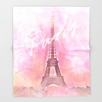 Paris City - Eiffel Tower Throw Blanket by Pentagonixmedia