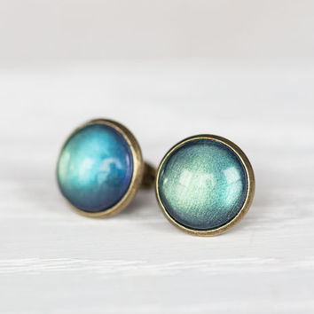 Aurora Borealis Glass Earrings - Color Shifting Stud Earrings