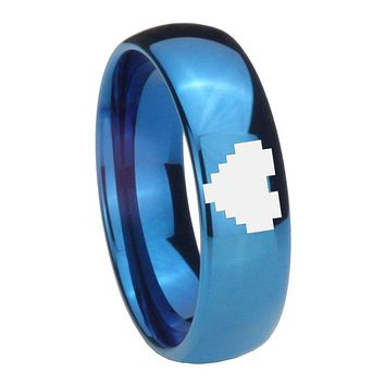 8MM Glossy Blue Dome Zelda Heart Tungsten Carbide Laser Engraved Ring