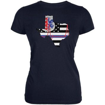 DCCKU3R Texas First Responder Thin Blue Line Flag Juniors Soft T Shirt