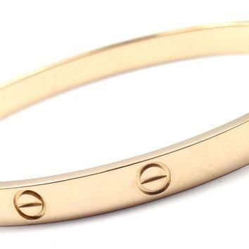 Authentic! CARTIER 18k Yellow Gold Love Bangle Bracelet Size 19 New System Cert.