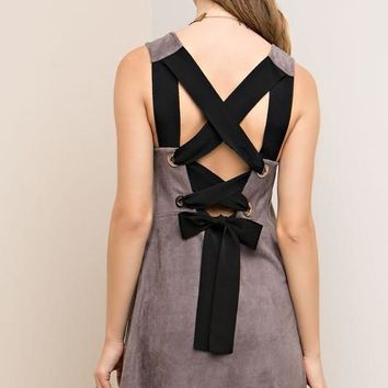 Charcoal Suede Lace Up Back Dress