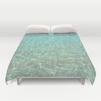Colors of the Sea Water - Clear Turquoise Duvet Cover by Lena Photo Art