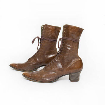 Antique Leather Boots - Victorian - Edwardian Brown Lace Up Heeled 1900s - 1910s - Sz 6