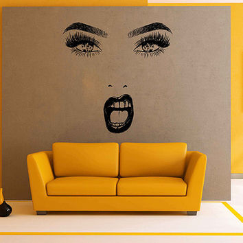 Girl Face Wall Decals Model Girl Wall Decal Make Up Wall Decals Girl Eyes lips Wall Decor Beauty Salon Decoration Make Up Wall Decor kik3386