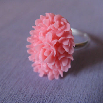 Pink flower cabochon ring,pink flower ring