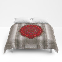 Strawberry  with waffles and fantasy-flowers in harmony Comforters by Pepita Selles