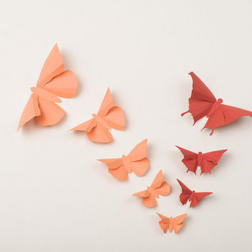 3D Wall Butterflies: Butterfly Wall Art for Nursery, Wedding or Home Decor - Flight of 20 in Coral & Terracotta