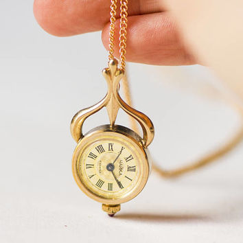 Flowers pattern watch necklace Seagull, women's pendant watch unique, ornamented watch pendant gold plated, rare design fashion pendant gift