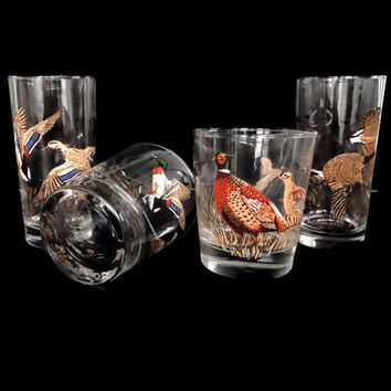 Vintage Game Bird Glasses Retro Barware Old Fashion Highball Cocktail Drinking Glasses Set of 4  Duck Hunting Mid Century Barware