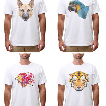 Men Animals in geometric pattern style Printed Cotton Round Neck T-shirt MTS_00