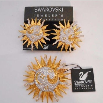 Swarovski Crystal Celestial Sun Brooch & Clip Earrings Moon Stars Retired