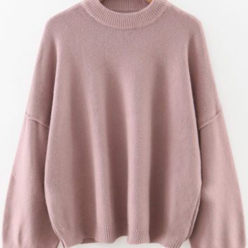 Pink Sweater Crew Neck and Oversized