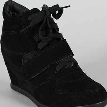 Womens Fashion Sporty Black Lace Up Strap Wedge Booties Sneaker Shoes NEW 6 - 10