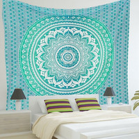 Multi Use Beach Towel Blue Print Mandala Tapestry Bath Swimming Hanging Beach Picnic Throw Rug Blanket Bath Beach Towel