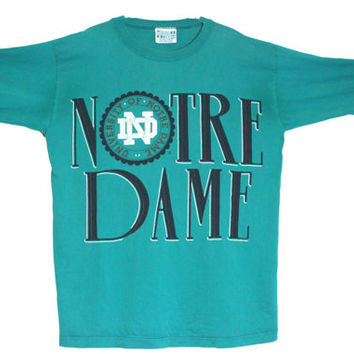 """Vintage 90s Notre College Dame Long Sleeve Crewneck T-Shirt 