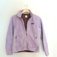 Vintage Women's Patagonia Purple Fuzzy Zip Up Fleece Jacket Size SMALL