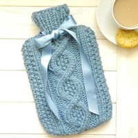 Handknit 'Cable' Cover With Hot Water Bottle