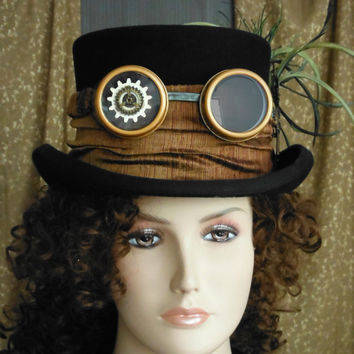 Black Top Hat with Matching Steampunk Goggles with Key and Gear Embellishments. Perfect for your Wedding, Victorian or Edwardian Cosplay.