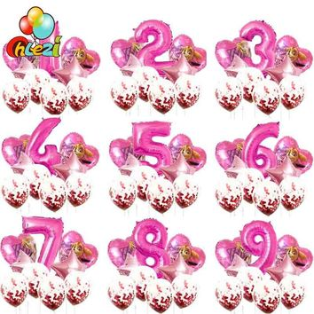 PAW Patrol birthday party Foil helium balloon number 1 2 3 years old globos Confetti balloon Cartoon figure balloon baby shower