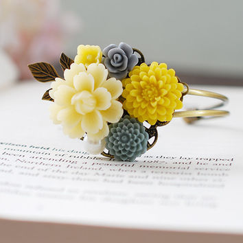 Grey and Yellow Flower Cuff Bracelet, Grey and Yellow Wedding Bracelet, Leaf Bracelet, Wrist Corsage, Bridesmaids Gift, Flower Girl Bracelet