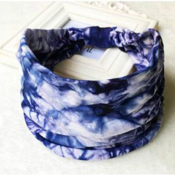 2018 Mens Tie Dye BOHO Wide Cotton Stretch Women Headband Fascinator Hair Accessories Turban Headwear Bandage Hair Bands Bandana