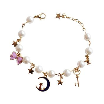 1 Pc Cat on Moon/Butterfly/Stars Sailor Moon Pearl Charm Bracelet 3 Styles
