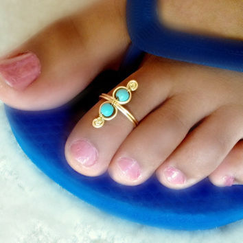 Turquoise Swirl Toe Ring by catchalljewelry on Etsy