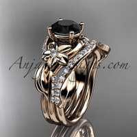 Unique 14k rose gold diamond flower, leaf and vine wedding ring, engagement set with a Black Diamond center stone ADLR224S