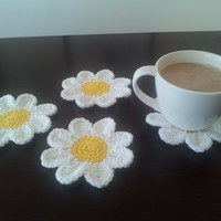 Crochet Daisy Coaster Set