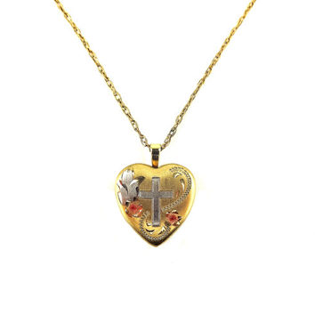 14K Gold Filled Heart Locket Pendant With Cross