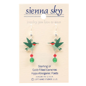 Sienna Sky Ruby-Throated Hummingbird W/Bead Finding Earrings