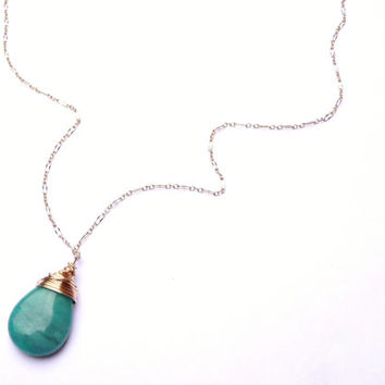 Wire Wrapped Russian Amazonite & Gold Teardrop Gemstone Necklace