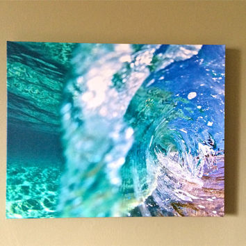Under Over Shorebreak Photography,Unique Underwater Canvas Prints,Turquoise Blue Water,H2o Natures Colors,Colorful Spring Canvas,Ocean Gifts