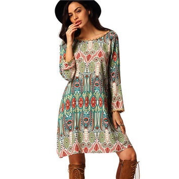 ♡ Vintage Casual Aztec Print V Back Shift Long Sleeve Loose Tunic Dress ♡