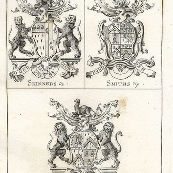 "Guild Merchants of Preston, Lancashire - 1822  - ""SKINNERS, SMITHS & MERCERS"" - Heraldry Engraving"