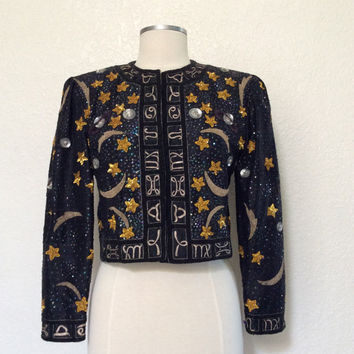 Vintage Couture Zodiac Jacket - Elsa Schiaparelli Style Jacket, Beaded and Sequined Shooting Stars & Planets