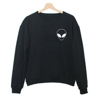 Alien Face Patch Long Sleeve Sweatshirt
